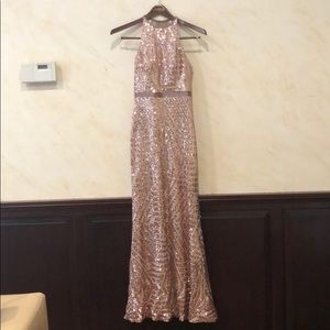 Pink Sequence Full Length Dress
